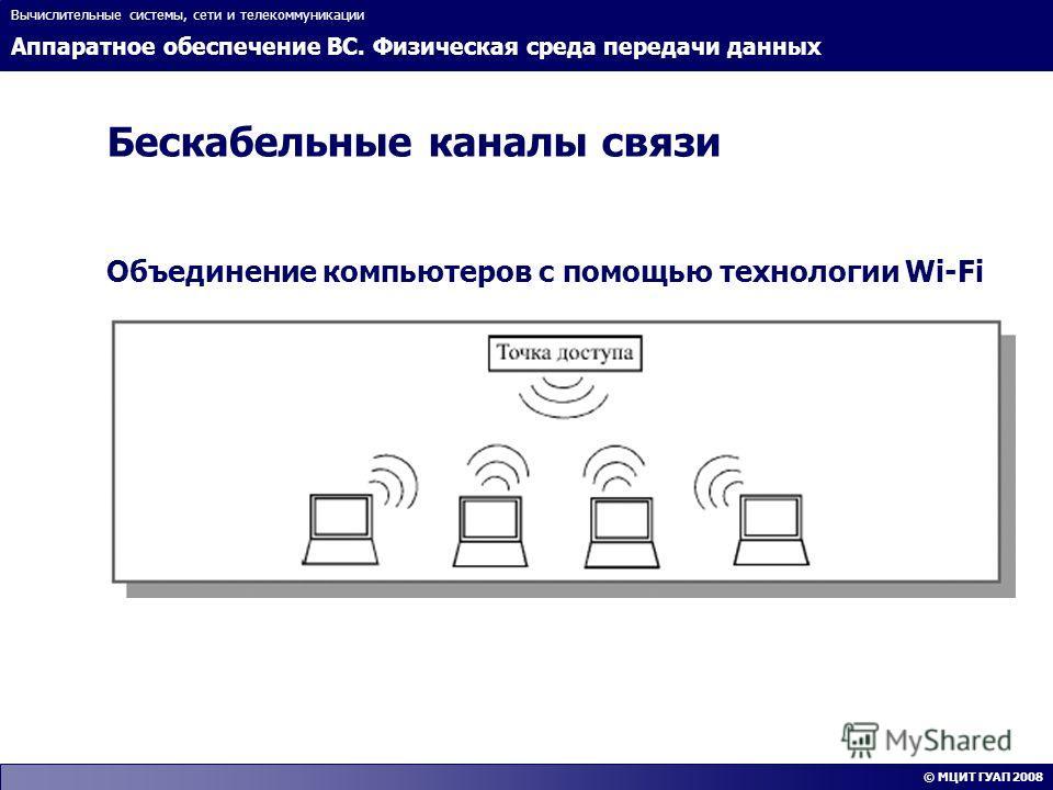 Аппаратное обеспечение ВС. Физическая среда передачи данных Вычислительные системы, сети и телекоммуникации © МЦИТ ГУАП 2008 Бескабельные каналы связи Объединение компьютеров с помощью технологии Wi-Fi