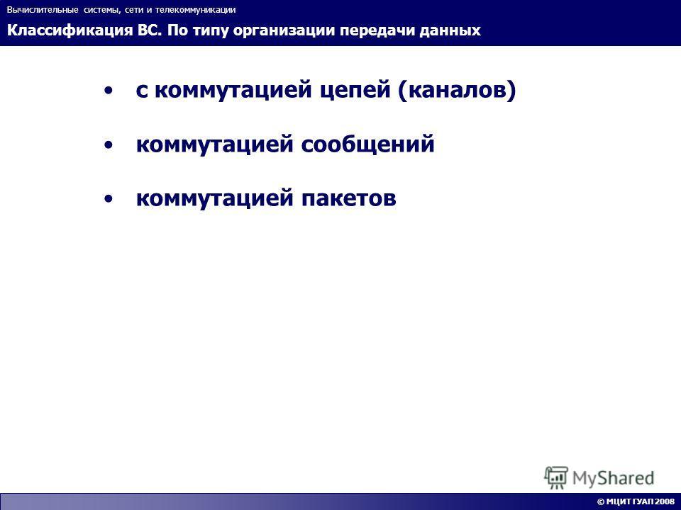 Классификация ВС. По типу организации передачи данных Вычислительные системы, сети и телекоммуникации © МЦИТ ГУАП 2008 с коммутацией цепей (каналов) коммутацией сообщений коммутацией пакетов
