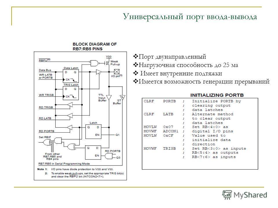 Универсальный порт ввода-вывода Порт двунаправленный Нагрузочная способность до 25 ма Имеет внутренние подтяжки Имеется возможность генерации прерываний