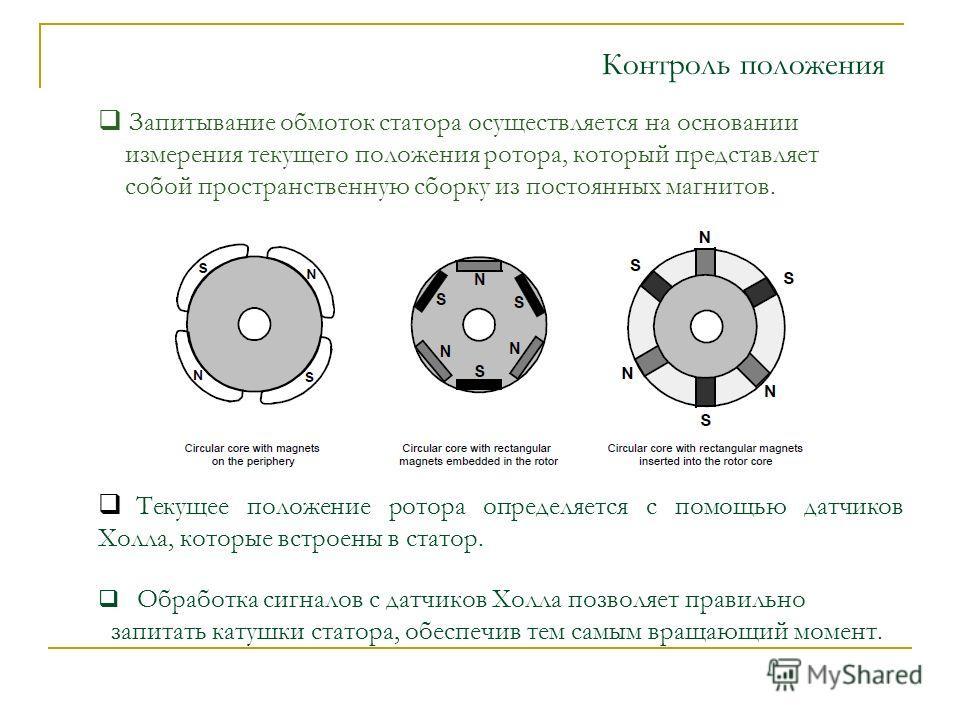 Запитывание обмоток статора осуществляется на основании измерения текущего положения ротора, который представляет собой пространственную сборку из постоянных магнитов. Текущее положение ротора определяется с помощью датчиков Холла, которые встроены в