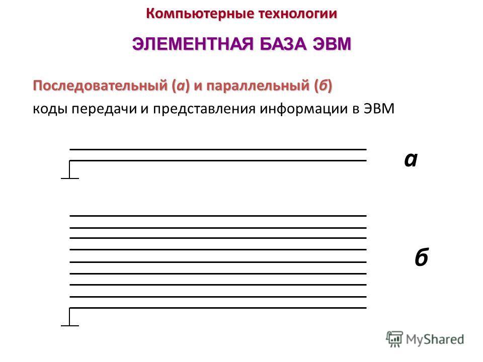 Компьютерные технологии ЭЛЕМЕНТНАЯ БАЗА ЭВМ Последовательный (а) и параллельный (б) Последовательный (а) и параллельный (б) коды передачи и представления информации в ЭВМ а б