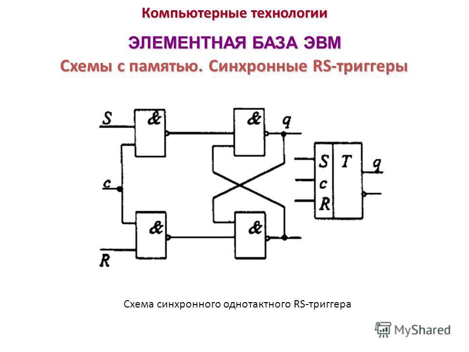 Компьютерные технологии ЭЛЕМЕНТНАЯ БАЗА ЭВМ Схемы с памятью. Синхронные RS-триггеры Схема синхронного однотактного RS-триггера