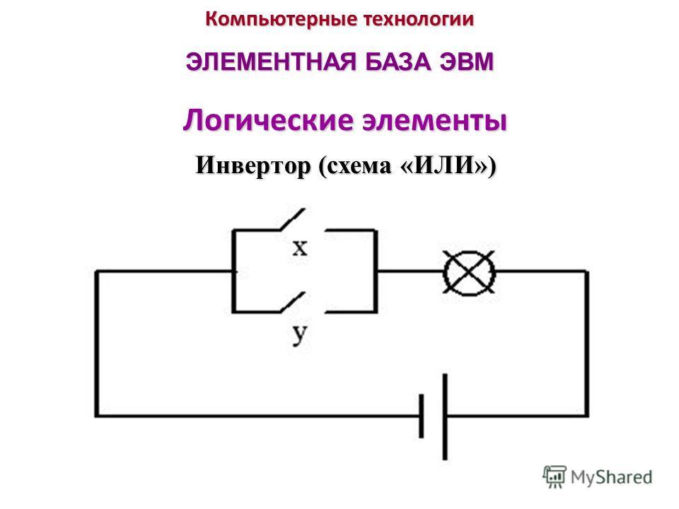 Компьютерные технологии ЭЛЕМЕНТНАЯ БАЗА ЭВМ Логические элементы Инвертор (схема «ИЛИ»)