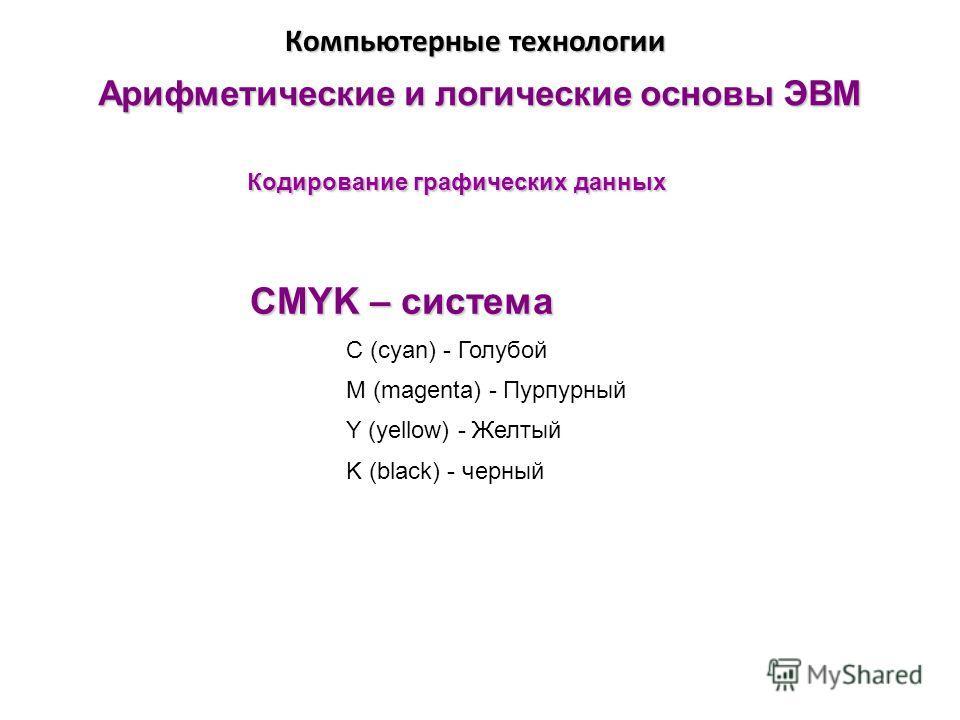 Арифметические и логические основы ЭВМ Кодирование графических данных Компьютерные технологии CMYK – система C (cyan) - Голубой M (magenta) - Пурпурный Y (yellow) - Желтый K (black) - черный
