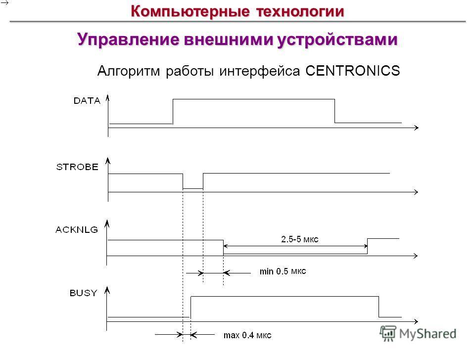 Управление внешними устройствами Компьютерные технологии Алгоритм работы интерфейса CENTRONICS мкс