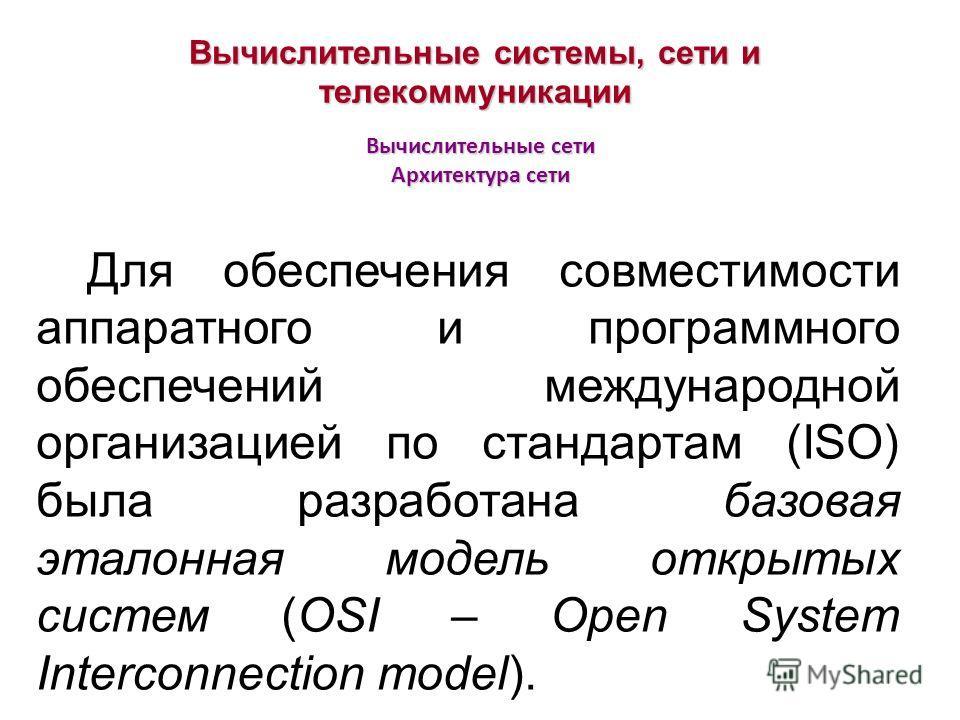 Вычислительные сети Архитектура сети Вычислительные системы, сети и телекоммуникации Для обеспечения совместимости аппаратного и программного обеспечений международной организацией по стандартам (ISO) была разработана базовая эталонная модель открыты