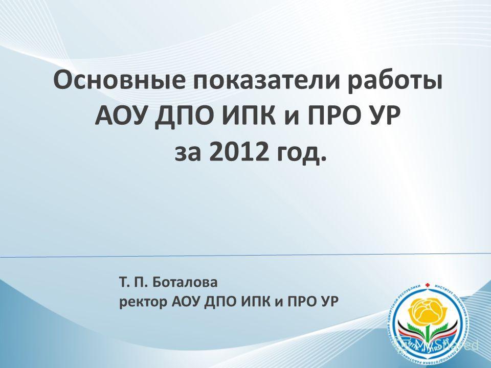 Основные показатели работы АОУ ДПО ИПК и ПРО УР за 2012 год. Т. П. Боталова ректор АОУ ДПО ИПК и ПРО УР