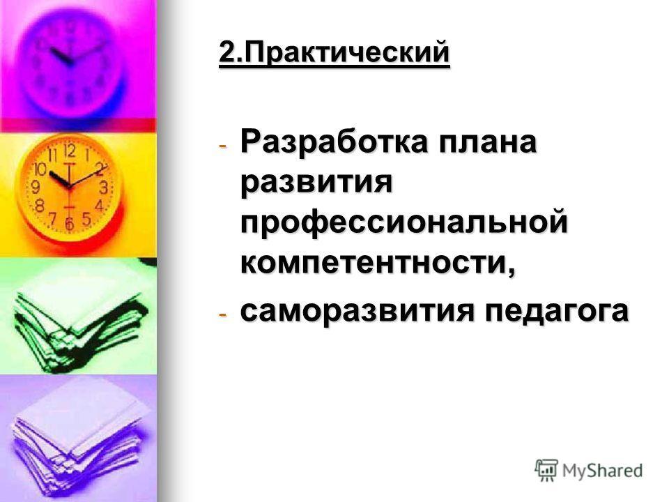 2.Практический - Разработка плана развития профессиональной компетентности, - саморазвития педагога