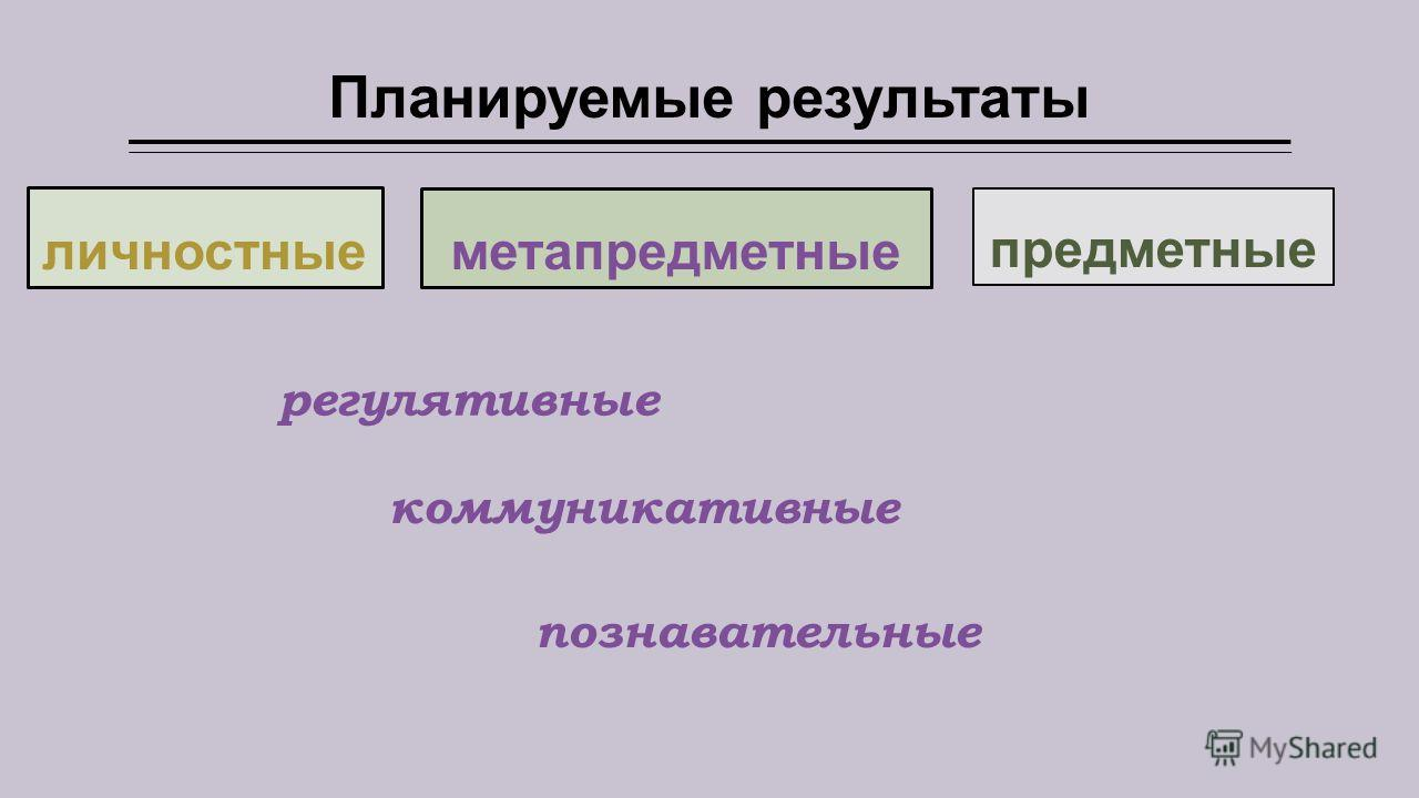 Планируемые результаты личностные метапредметные предметные регулятивные познавательные коммуникативные
