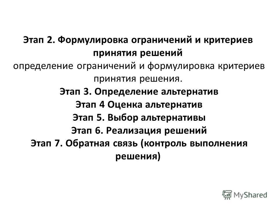 Этап 2. Формулировка ограничений и критериев принятия решений определение ограничений и формулировка критериев принятия решения. Этап 3. Определение альтернатив Этап 4 Оценка альтернатив Этап 5. Выбор альтернативы Этап 6. Реализация решений Этап 7. О