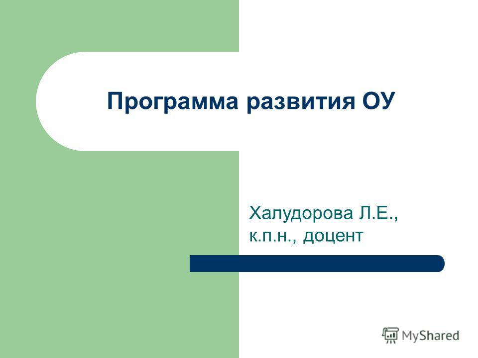 Программа развития ОУ Халудорова Л.Е., к.п.н., доцент