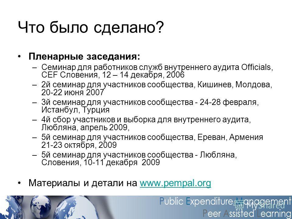 Что было сделано? Пленарные заседания: –Семинар для работников служб внутреннего аудита Officials, CEF Словения, 12 – 14 декабря, 2006 –2й семинар для участников сообщества, Кишинев, Молдова, 20-22 июня 2007 –3й семинар для участников сообщества - 24