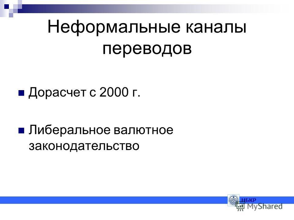 Неформальные каналы переводов Дорасчет с 2000 г. Либеральное валютное законодательство НБКР