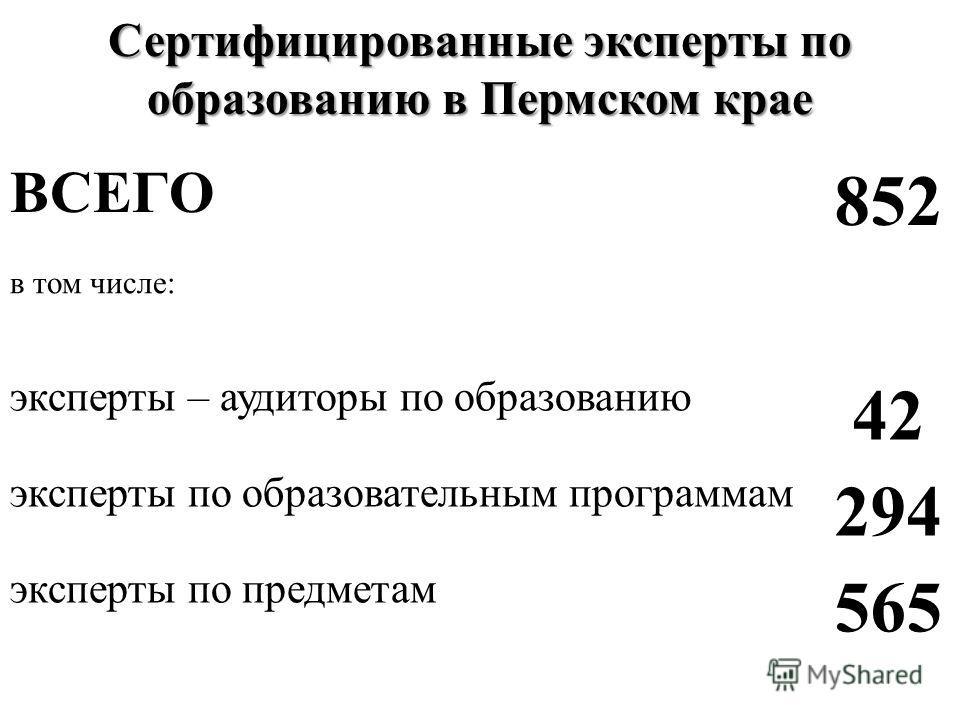 Сертифицированные эксперты по образованию в Пермском крае ВСЕГО 852 в том числе: эксперты – аудиторы по образованию 42 эксперты по образовательным программам 294 эксперты по предметам 565