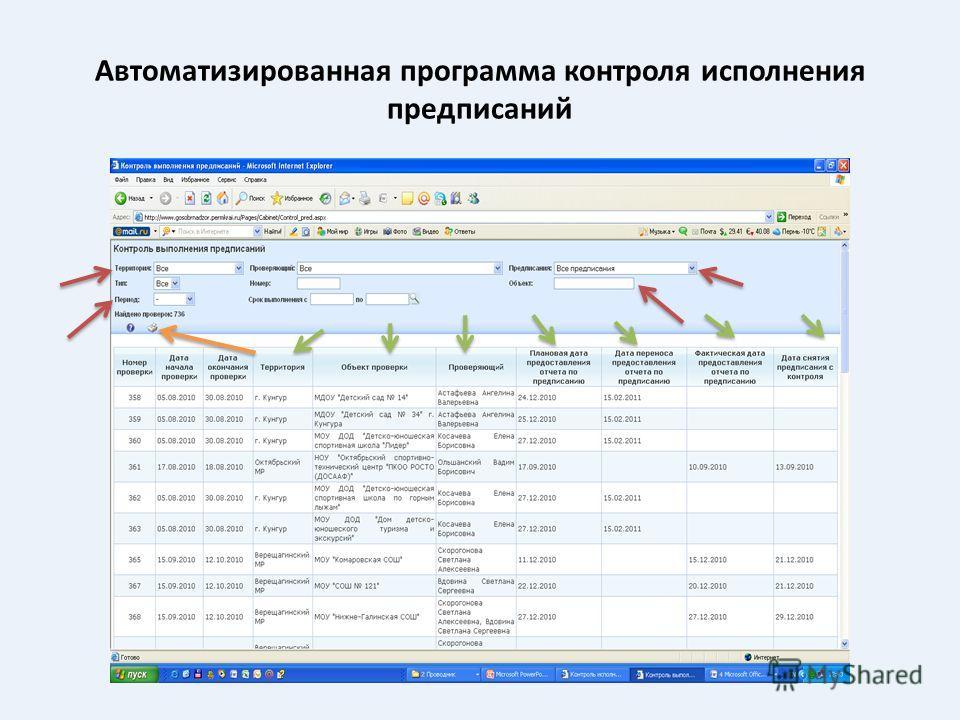 Автоматизированная программа контроля исполнения предписаний