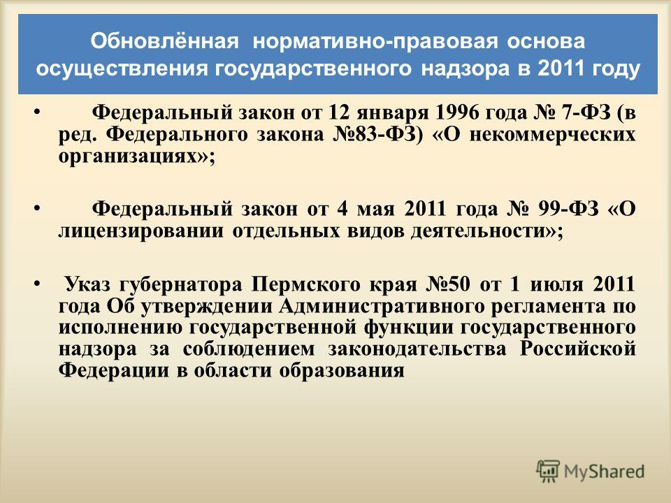 Обновлённая нормативно-правовая основа осуществления государственного надзора в 2011 году Федеральный закон от 12 января 1996 года 7-ФЗ (в ред. Федерального закона 83-ФЗ) «О некоммерческих организациях»; Федеральный закон от 4 мая 2011 года 99-ФЗ «О