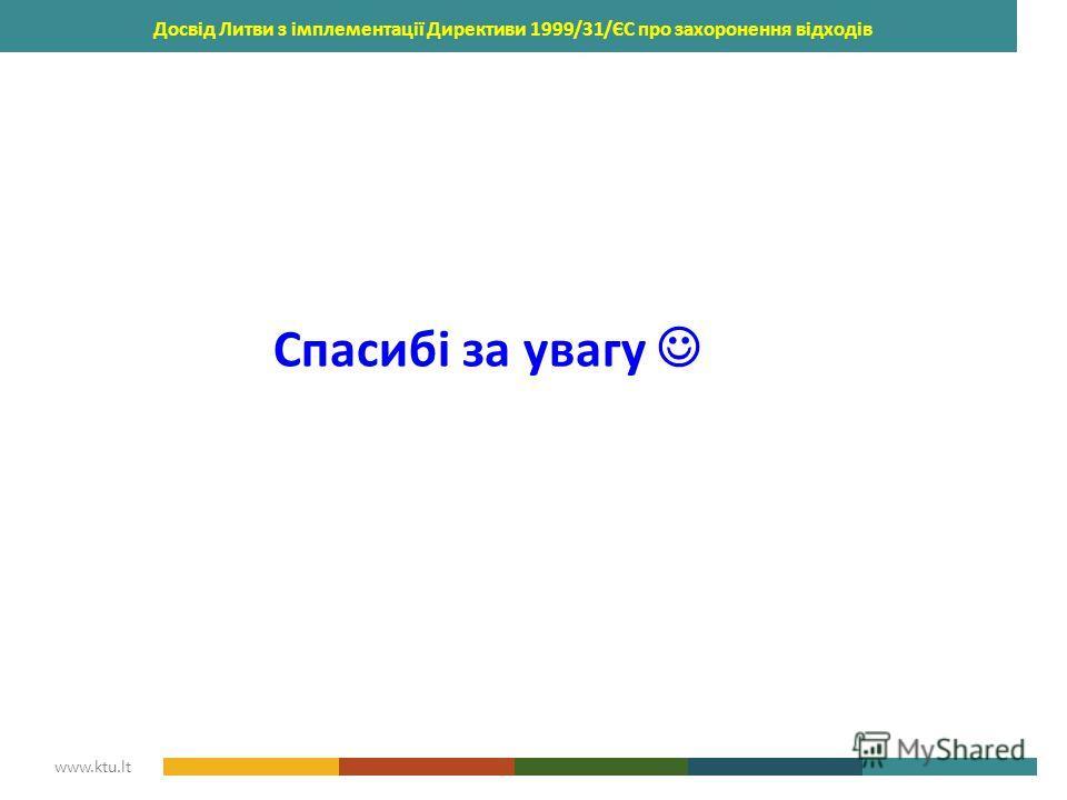 KAUNAS UNIVERSITY OF TECHNOLOGY www.ktu.lt Досвід Литви з імплементації Директиви 1999/31/ЄС про захоронення відходів Спасибі за увагу
