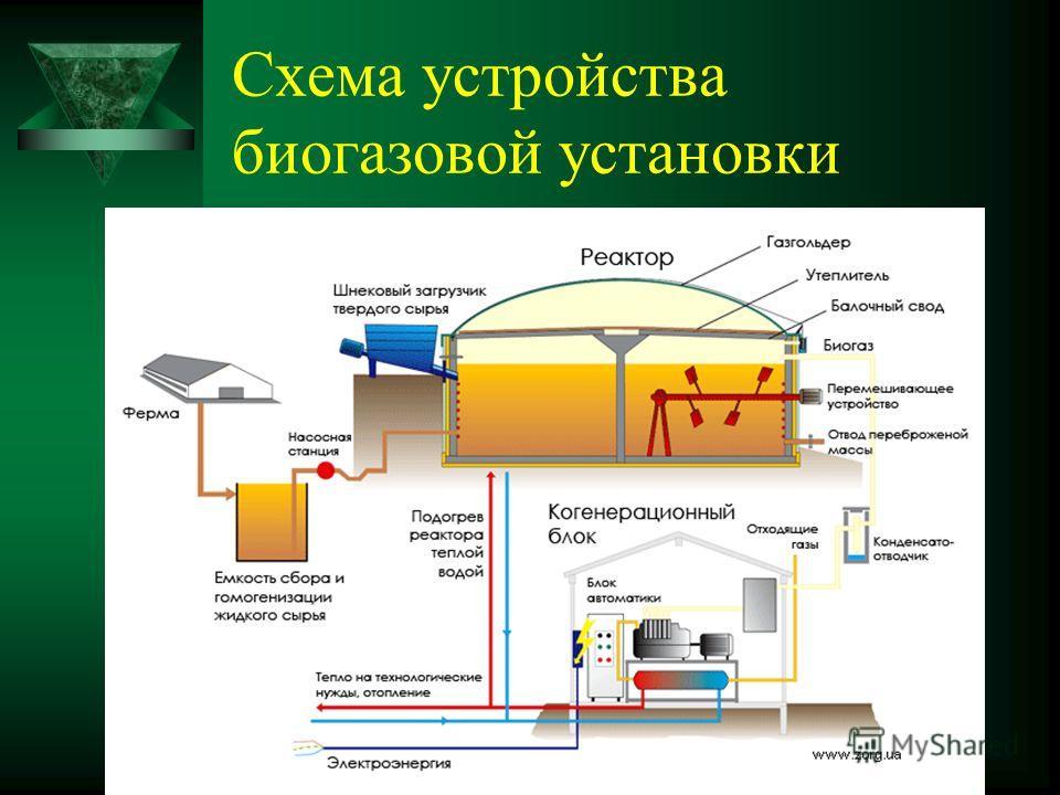 Схема устройства биогазовой установки