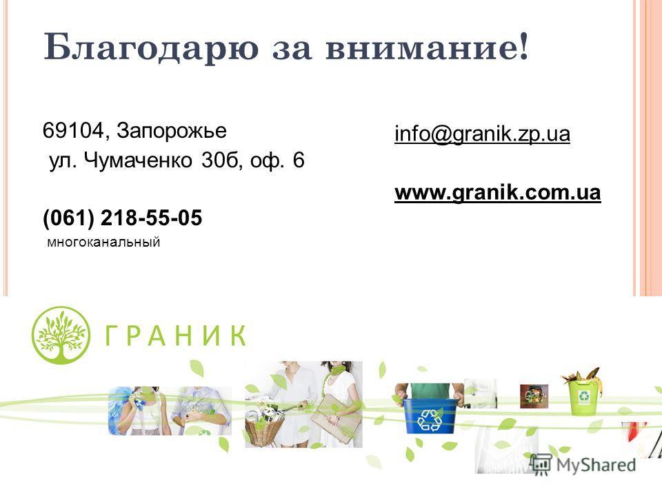 Благодарю за внимание! 69104, Запорожье ул. Чумаченко 30б, оф. 6 (061) 218-55-05 многоканальный info@granik.zp.ua www.granik.com.ua