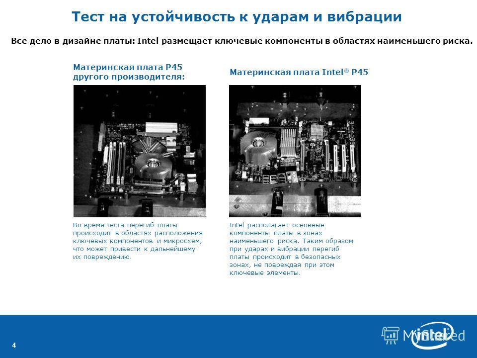 44 Все дело в дизайне платы: Intel размещает ключевые компоненты в областях наименьшего риска. Материнская плата P45 другого производителя: Материнская плата Intel ® P45 Во время теста перегиб платы происходит в областях расположения ключевых компоне