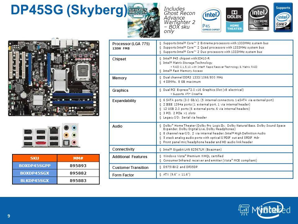 99 DP45SG (Skyberg) SKUMM# BOXDP45SGPP895893 BOXDP45SGX895882 BLKDP45SGX895883 Processor (LGA 775) 130W FMB §Supports Intel ® Core 2 Extreme processors with 1333MHz system bus §Supports Intel ® Core 2 Quad processors with 1333MHz system bus §Supports