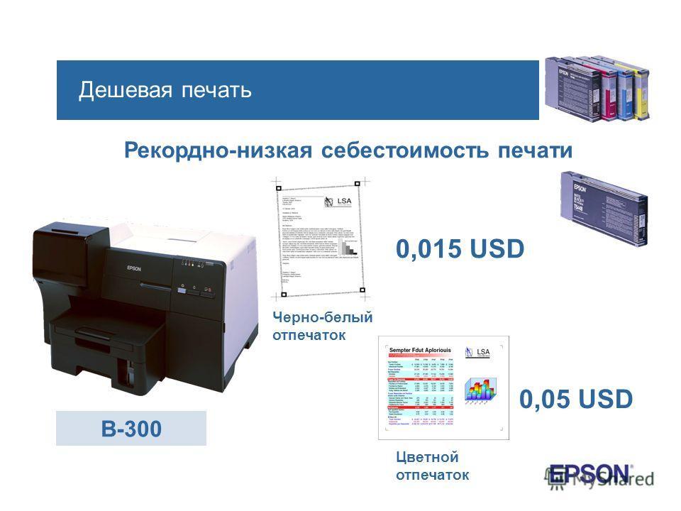 Дешевая печать Рекордно-низкая себестоимость печати B-300 0,015 USD Черно-белый отпечаток Цветной отпечаток 0,05 USD