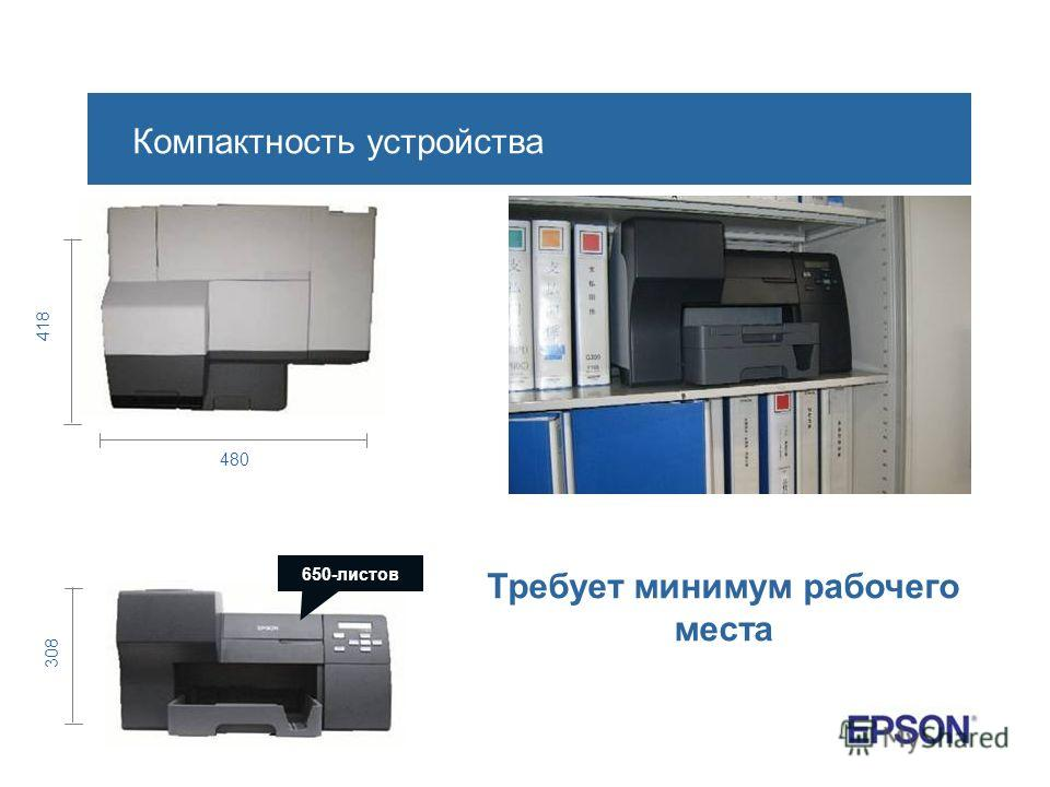 480 418 308 650-листов Компактность устройства Требует минимум рабочего места