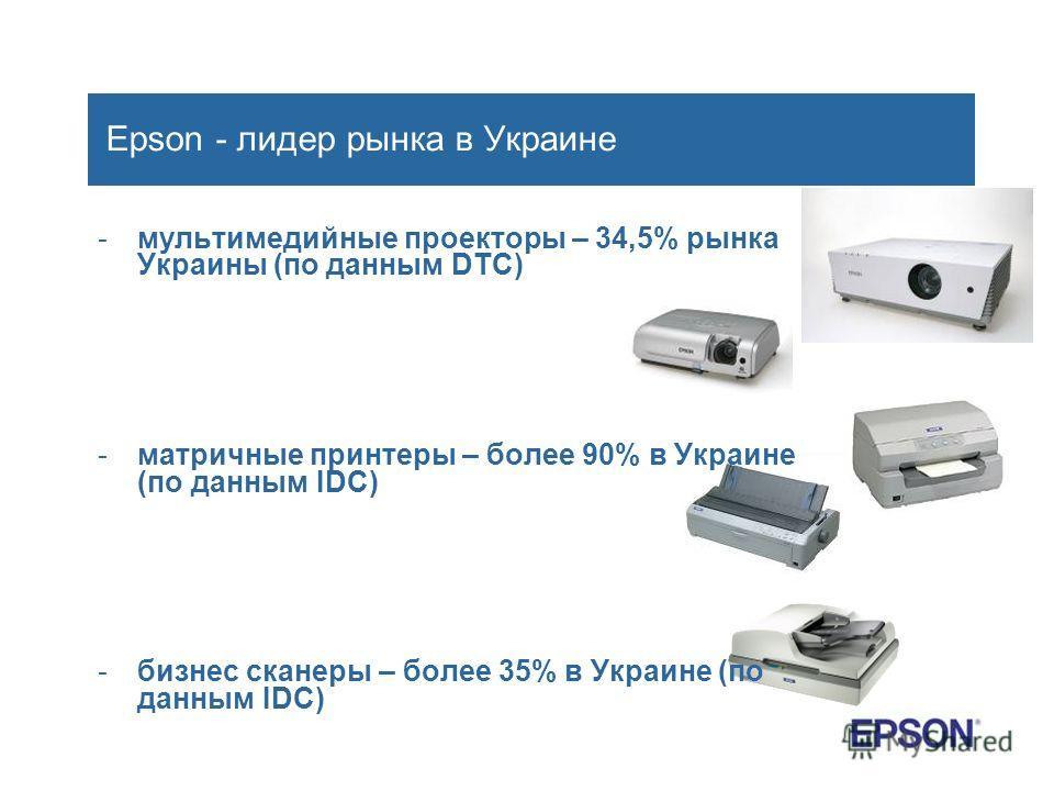 Epson - лидер рынка в Украине -мультимедийные проекторы – 34,5% рынка Украины (по данным DTC) -матричные принтеры – более 90% в Украине (по данным IDC) -бизнес сканеры – более 35% в Украине (по данным IDC)