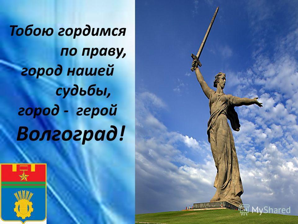 Тобою гордимся по праву, город нашей судьбы, город - герой Волгоград!