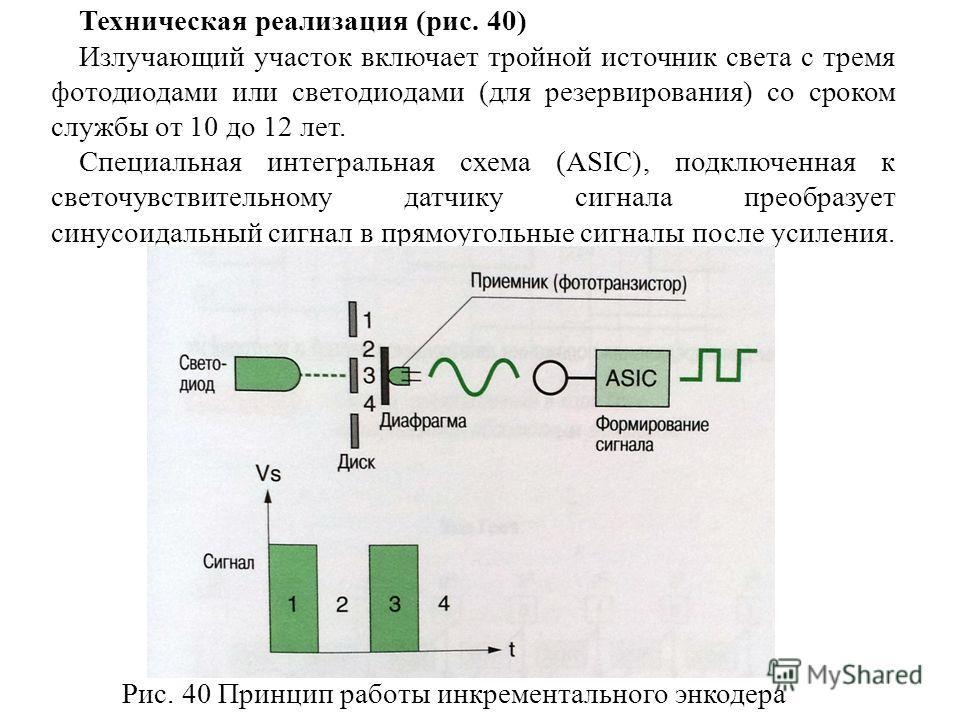 Техническая реализация (рис. 40) Излучающий участок включает тройной источник света с тремя фотодиодами или светодиодами (для резервирования) со сроком службы от 10 до 12 лет. Специальная интегральная схема (ASIC), подключенная к светочувствительному