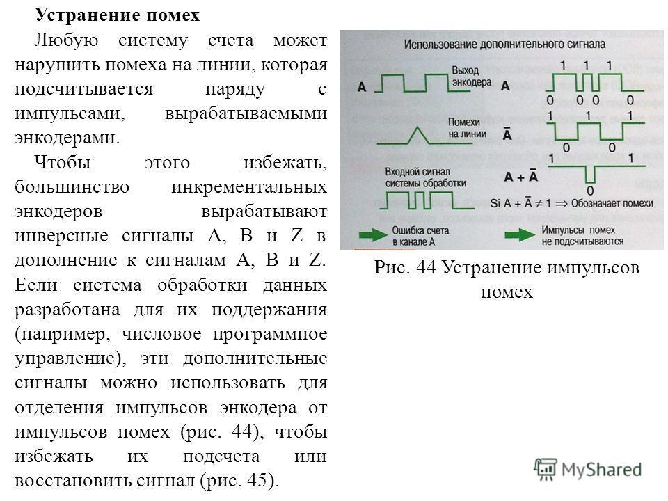 Устранение помех Любую систему счета может нарушить помеха на линии, которая подсчитывается наряду с импульсами, вырабатываемыми энкодерами. Чтобы этого избежать, большинство инкрементальных энкодеров вырабатывают инверсные сигналы А, В и Z в дополне