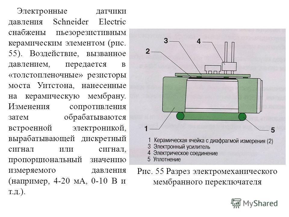 Электронные датчики давления Schneider Electric снабжены пьезорезистивным керамическим элементом (рис. 55). Воздействие, вызванное давлением, передается в «толстопленочные» резисторы моста Уитстона, нанесенные на керамическую мембрану. Изменения сопр