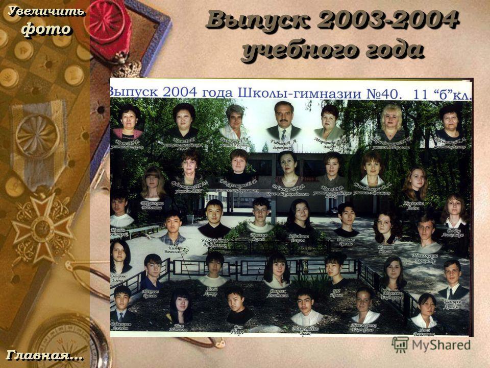 Выпуск 2003-2004 учебного года Увеличить фото Увеличить фото Увеличить фото Увеличить фото Главная…
