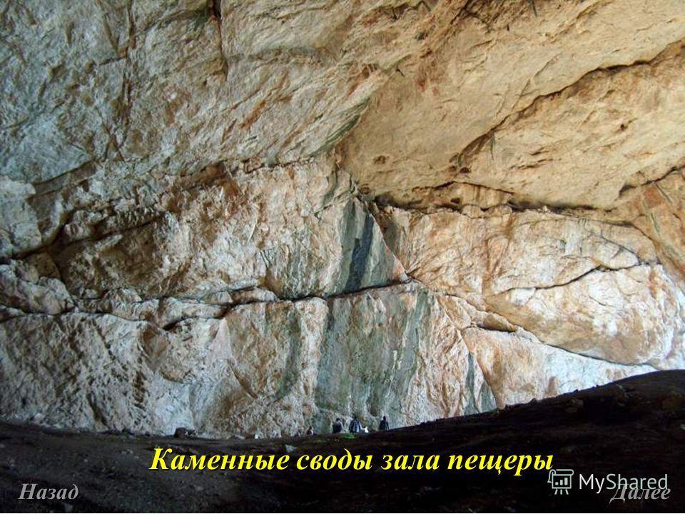 Каменные своды зала пещеры Назад Далее