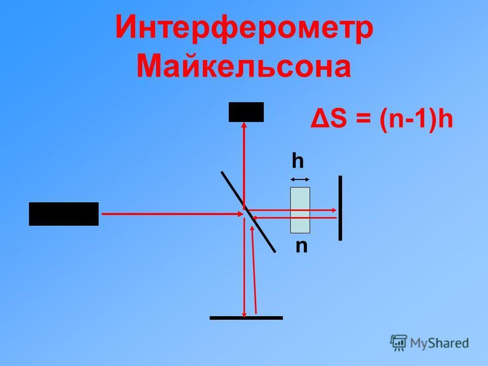 Интерферометр Майкельсона h n ΔS = (n-1)h