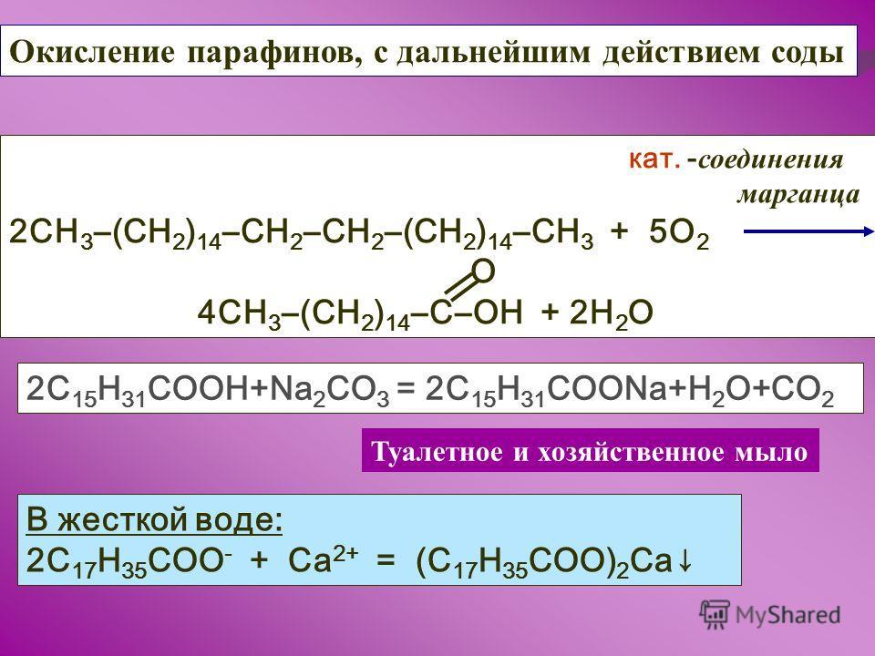 Окисление парафинов, с дальнейшим действием соды кат. - соединения марганца 2СН 3 (СН 2 ) 14 СН 2 СН 2 (СН 2 ) 14 СН 3 + 5О 2 О 4СН 3 (СН 2 ) 14 СОН + 2Н 2 О 2С 15 Н 31 СООН+Na 2 CO 3 = 2C 15 H 31 COONa+H 2 O+CO 2 Туалетное и хозяйственное мыло В жес