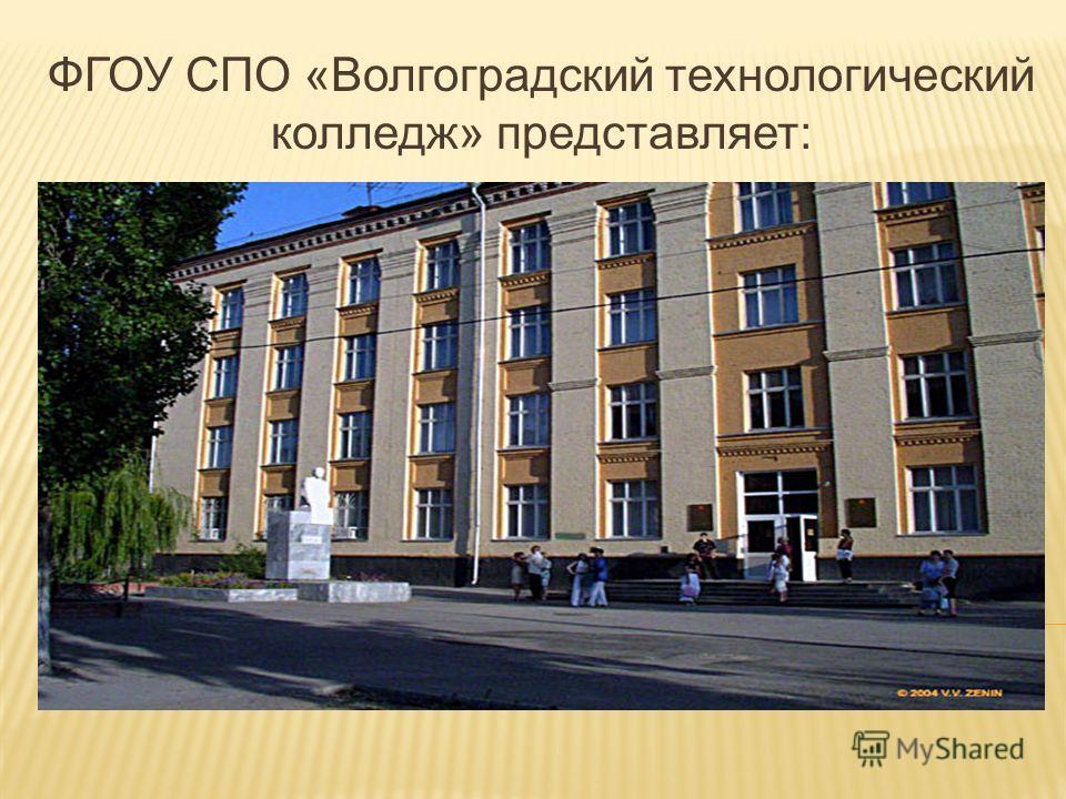 ФГОУ СПО «Волгоградский технологический колледж» представляет: