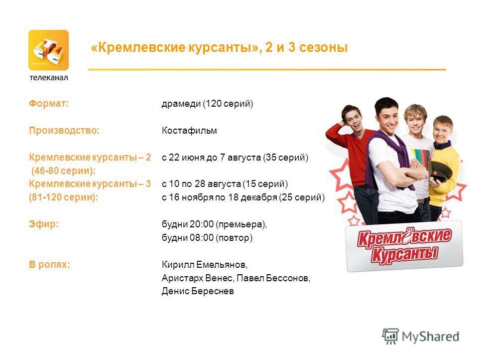 Формат: Производство: Кремлевские курсанты – 2 (46-80 серии): Кремлевские курсанты – 3 (81-120 серии): Эфир: В ролях: «Кремлевские курсанты», 2 и 3 сезоны драмеди (120 серий) Костафильм с 22 июня до 7 августа (35 серий) с 10 по 28 августа (15 серий)