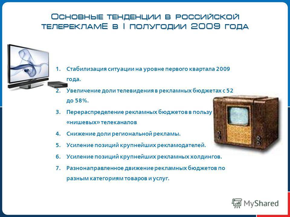 Основные тенденции в российской телерекламЕ в I полугодии 2009 года 1. Стабилизация ситуации на уровне первого квартала 2009 года. 2. Увеличение доли телевидения в рекламных бюджетах с 52 до 58%. 3. Перераспределение рекламных бюджетов в пользу «нише