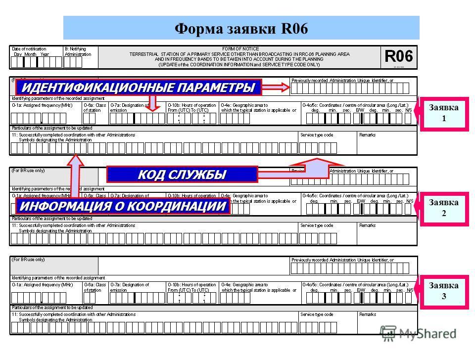 Форма заявки R06 КОД СЛУЖБЫ Заявка 1 Заявка 2 Заявка 3 ИНФОРМАЦИЯ О КООРДИНАЦИИ ИДЕНТИФИКАЦИОННЫЕ ПАРАМЕТРЫ