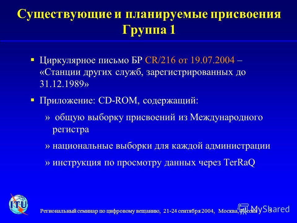 Региональный семинар по цифровому вещанию, 21-24 сентября 2004, Москва, Россия 5 5 Существующие и планируемые присвоения Группа 1 Циркулярное письмо БР CR/216 от 19.07.2004 – «Станции других служб, зарегистрированных до 31.12.1989» Приложение: CD-ROM