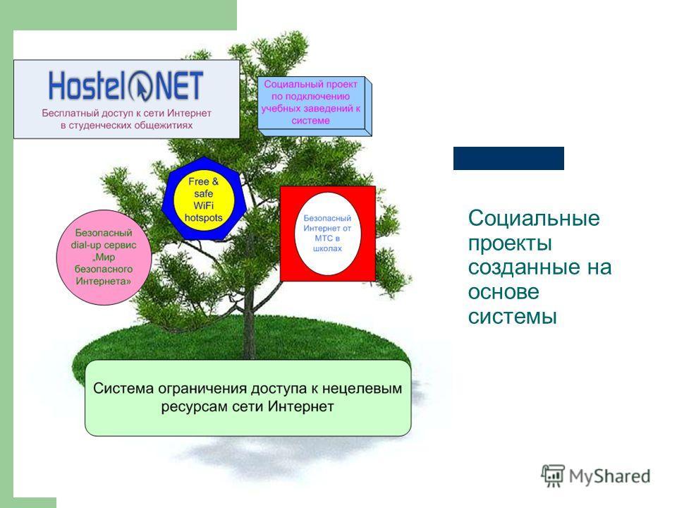 Социальные проекты созданные на основе системы