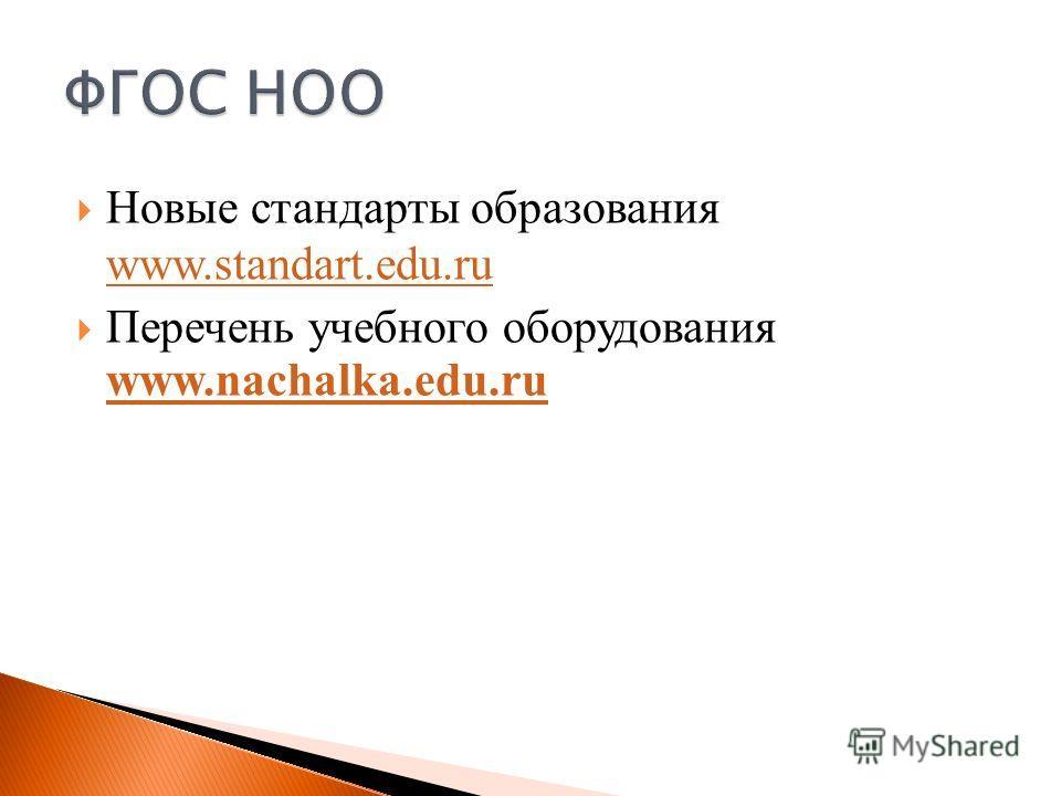 Новые стандарты образования www.standart.edu.ru www.standart.edu.ru Перечень учебного оборудования www.nachalka.edu.ru www.nachalka.edu.ru