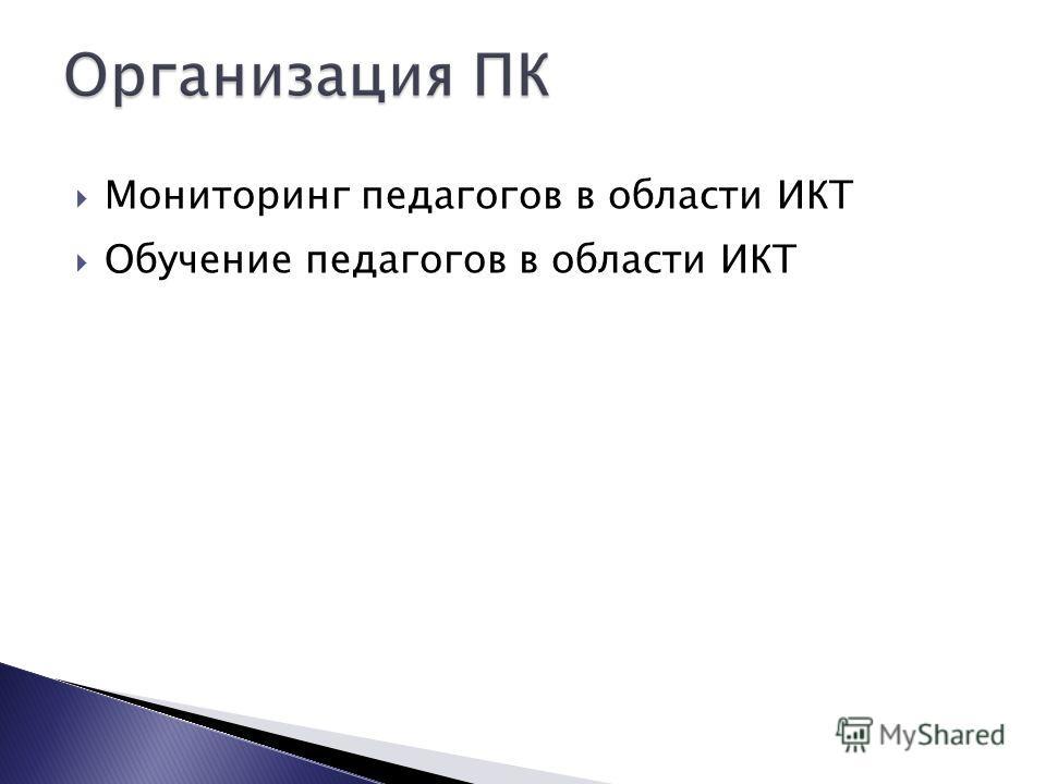 Мониторинг педагогов в области ИКТ Обучение педагогов в области ИКТ