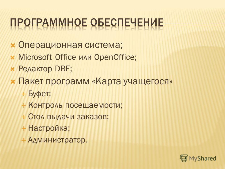 Операционная система; Microsoft Office или OpenOffice; Редактор DBF; Пакет программ «Карта учащегося» Буфет; Контроль посещаемости; Стол выдачи заказов; Настройка; Администратор.