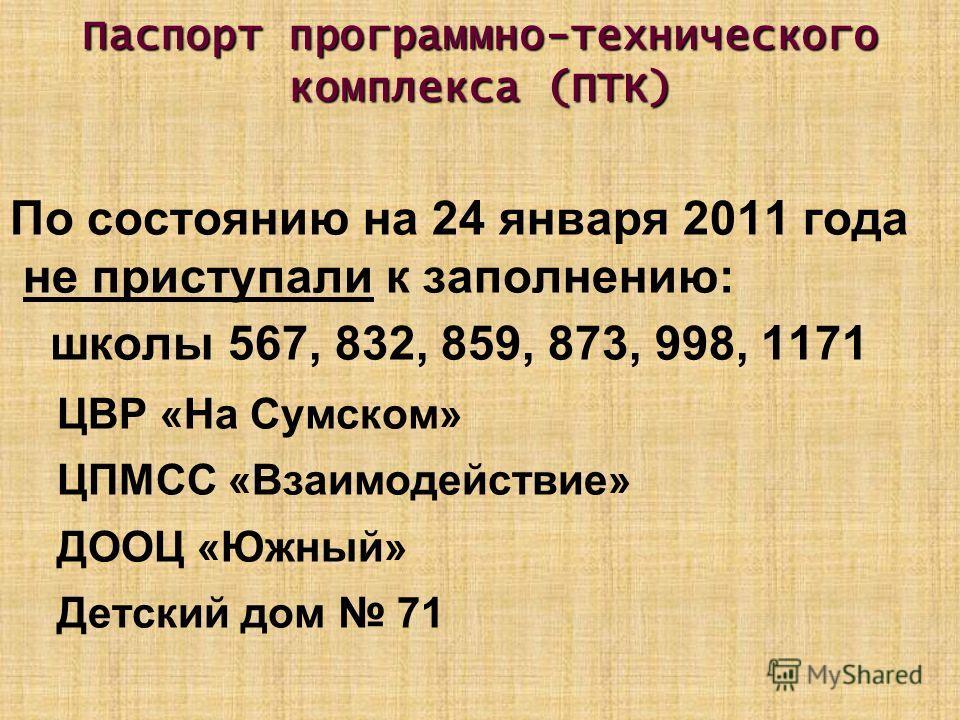 Паспорт программно-технического комплекса (ПТК) По состоянию на 24 января 2011 года не приступали к заполнению: школы 567, 832, 859, 873, 998, 1171 ЦВР «На Сумском» ЦПМСС «Взаимодействие» ДООЦ «Южный» Детский дом 71