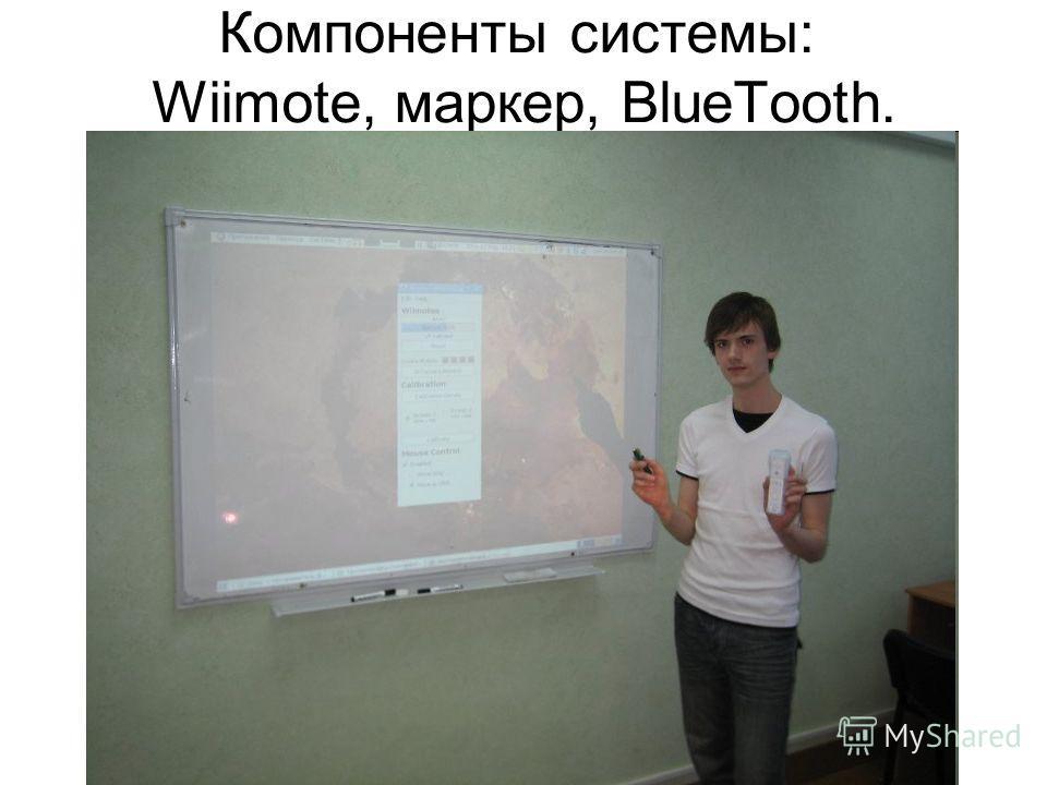 Компоненты системы: Wiimote, маркер, BlueTooth.