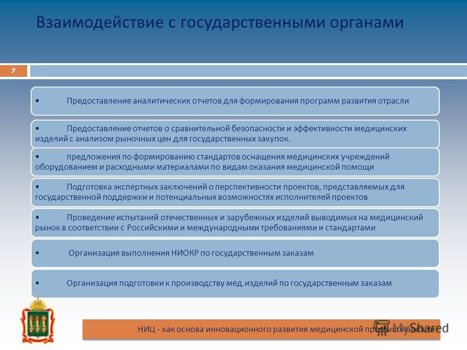 Взаимодействие с государственными органами Предоставление аналитических отчетов для формирования программ развития отрасли Предоставление отчетов о сравнительной безопасности и эффективности медицинских изделий с анализом рыночных цен для государстве