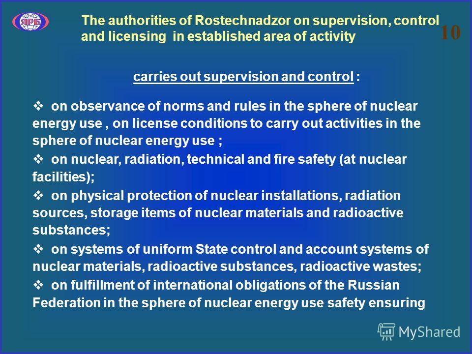The authorities of Rostechnadzor on supervision, control and licensing in established area of activity carries out supervision and control : on observance of norms and rules in the sphere of nuclear energy use, on license conditions to carry out acti