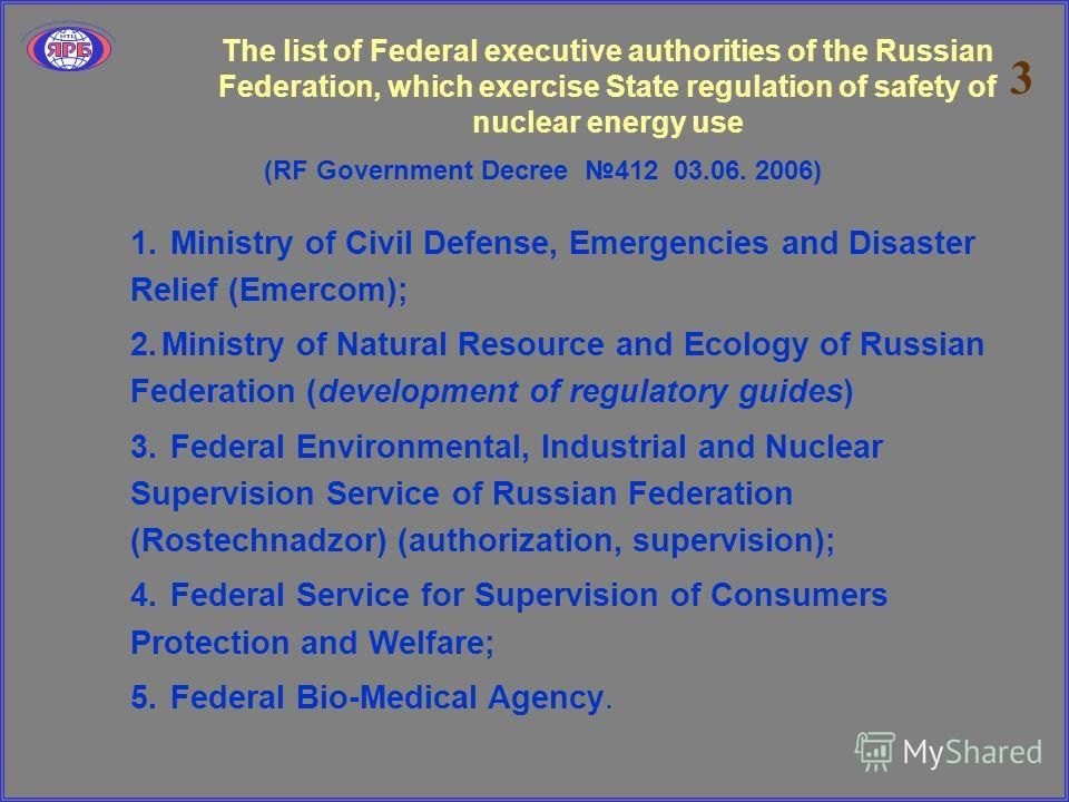 The list of Federal executive authorities of the Russian Federation, which exercise State regulation of safety of nuclear energy use (RF Government Decree 412 03.06. 2006) 1. Ministry of Civil Defense, Emergencies and Disaster Relief (Emercom); 2.Min
